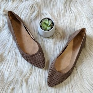 Vionic Posey Taupe Suede Ballet Flat